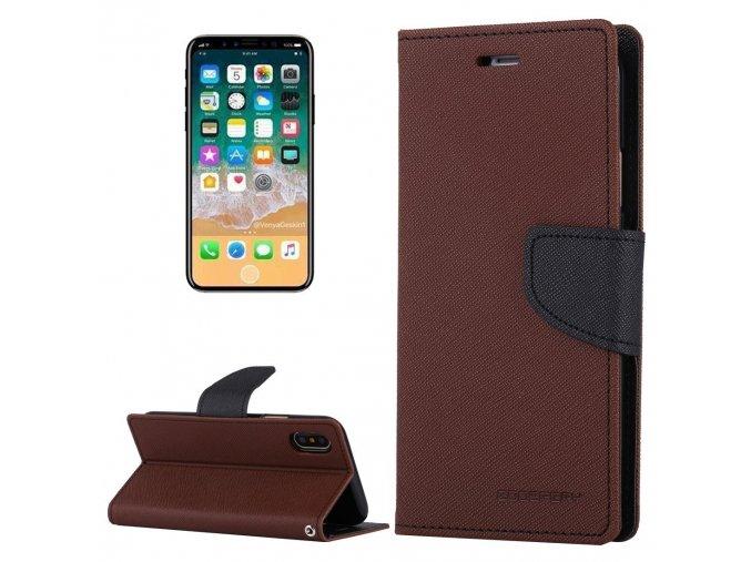 Pouzdro / kryt pro iPhone XS / X - Mercury, Fancy Diary BROWN/BLACK