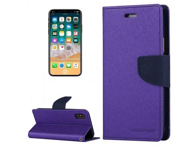 Pouzdro / kryt pro iPhone XS / X - Mercury, Fancy Diary PURPLE/NAVY