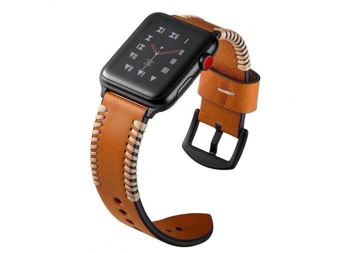 Kožený pásek / řemínek pro Apple Watch 42mm / 44mm - TECH-PROTECT, STROBAND BROWN