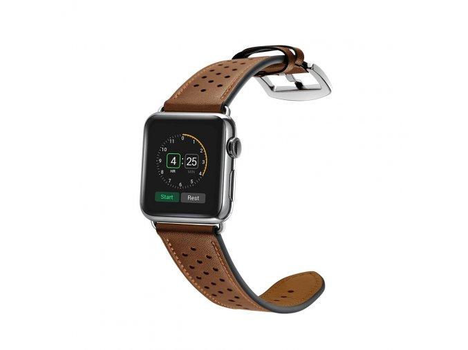 Kožený pásek / řemínek pro Apple Watch 42mm / 44mm - TECH-PROTECT, LEATHER BROWN