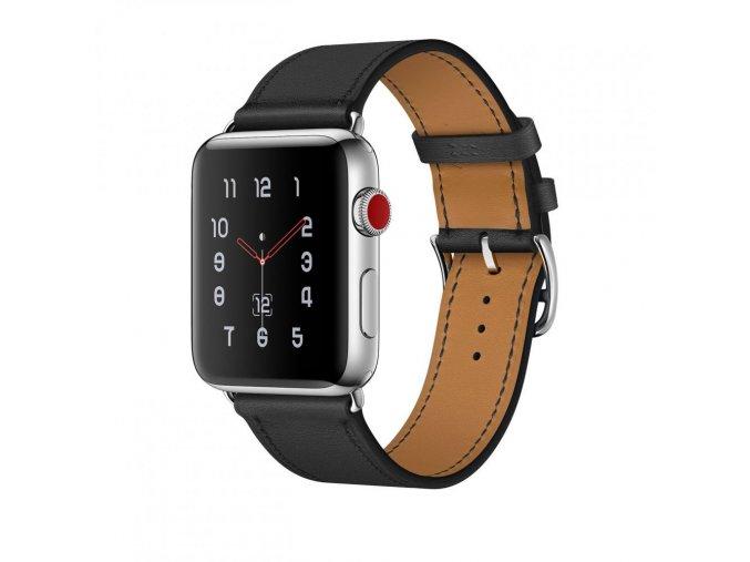 Kožený pásek / řemínek pro Apple Watch 42mm / 44mm - TECH-PROTECT, HERMS BLACK
