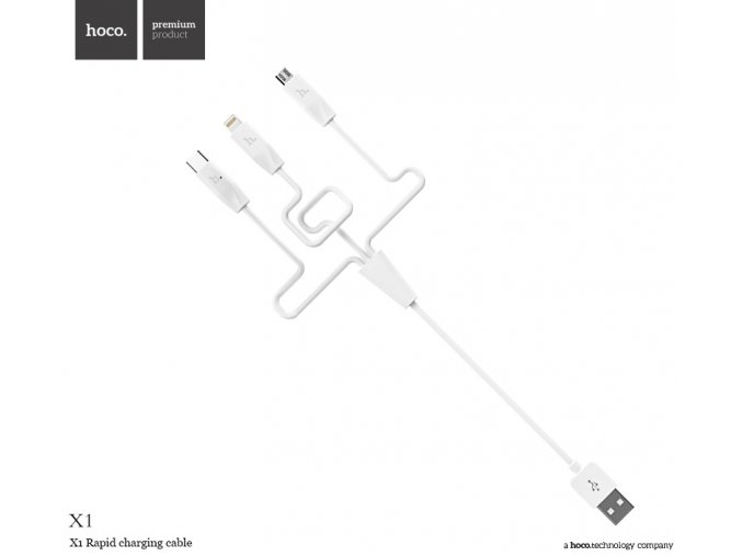 Kabel 3v1 - Hoco, X1 Rapid White (Lightning+Micro+Type-C)