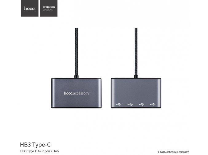 Redukce / adaptér - Hoco, HB3 USB-C Hub Gray
