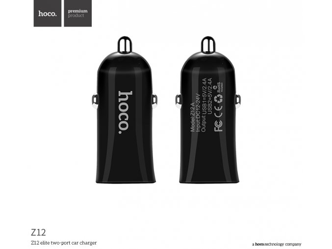 Auto-nabíječka pro iPhone a iPad - HOCO, Z12 Dual 2.4A Black