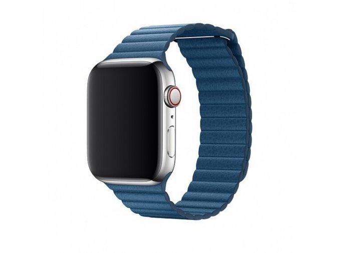 Řemínek pro Apple Watch 42mm / 44mm - Devia, LeatherLoop Cape Cod Blue