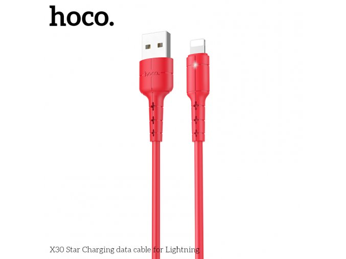 Kabel Lightning pro iPhone a iPad - Hoco, X30 Star Red