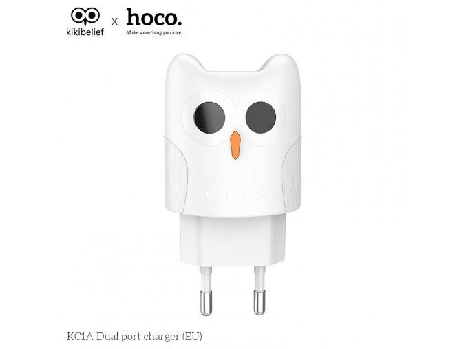 Nabíjecí AC adaptér pro iPhone a iPad - HOCO, KC1A Kikibelief White