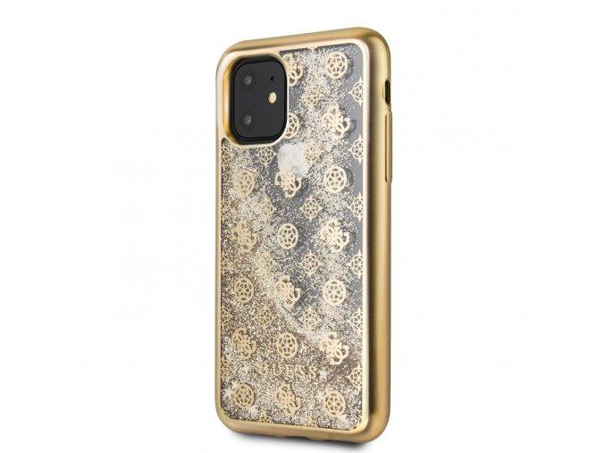 Ochranný kryt na iPhone 11 - Guess, 4G Peony Glitter Gold