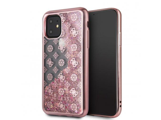 Ochranný kryt na iPhone 11 - Guess, 4G Peony Glitter Rose