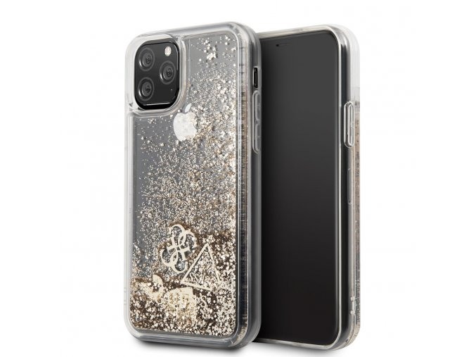 Ochranný kryt na iPhone 11 - Guess, Glitter Hearts Gold