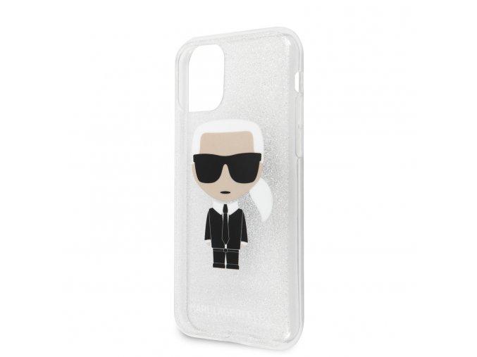Ochranný kryt na iPhone 11 - Karl Lagerfeld, Glitter Iconic Silver
