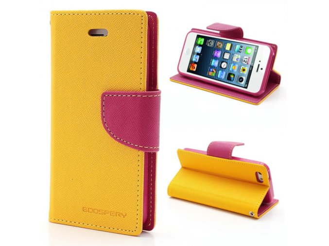 Pouzdro / kryt pro Apple iPhone 5 / 5S / SE - Mercury, Fancy Diary Yellow/Hotpink