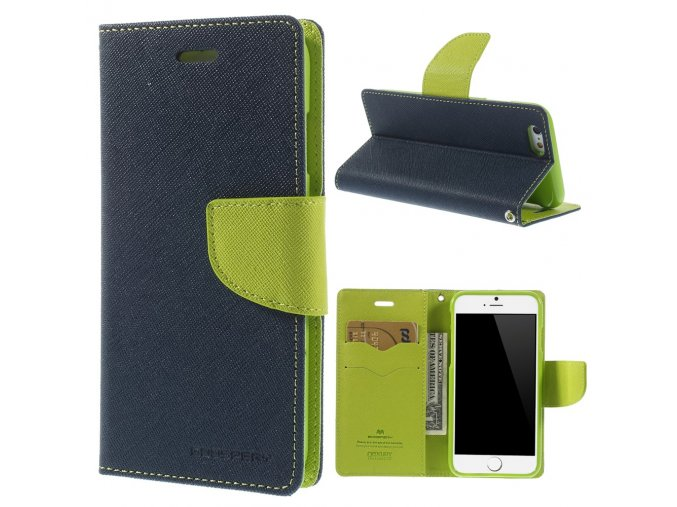 Pouzdro / kryt pro Apple iPhone 6 / 6S - Mercury, Fancy Diary Navy/Lime