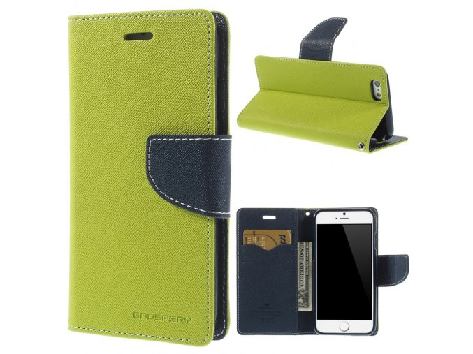 Pouzdro / kryt pro Apple iPhone 6 / 6S - Mercury, Fancy Diary Lime/Navy