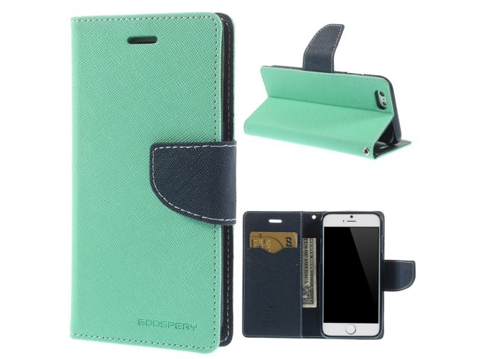 Pouzdro / kryt pro Apple iPhone 6 / 6S - Mercury, Fancy Diary Mint/Navy