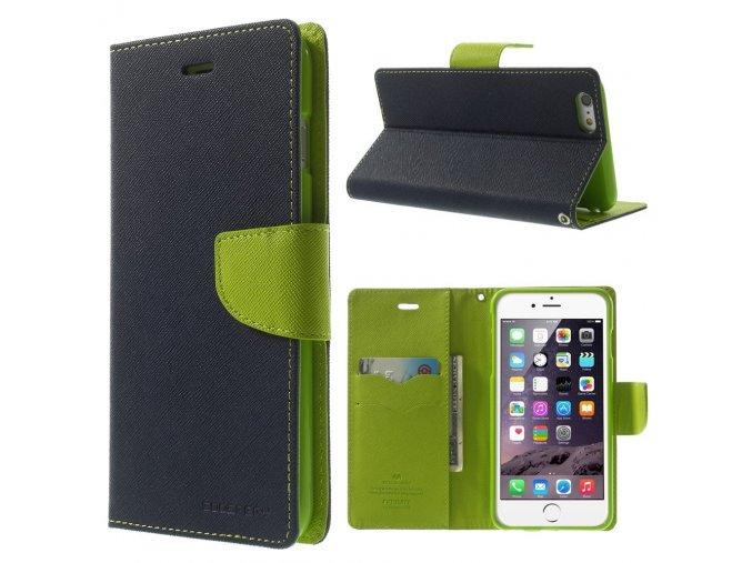 Pouzdro / kryt pro Apple iPhone 6 Plus / 6S Plus - Mercury, Fancy Diary NAVY/LIME