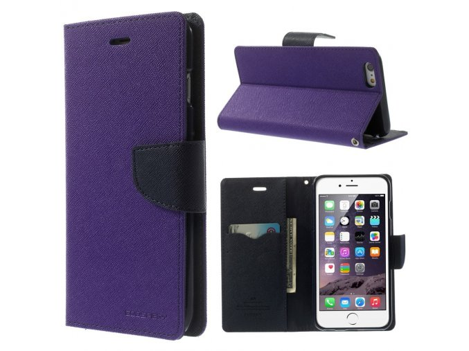 Pouzdro / kryt pro Apple iPhone 6 Plus / 6S Plus - Mercury, Fancy Diary PURPLE/NAVY