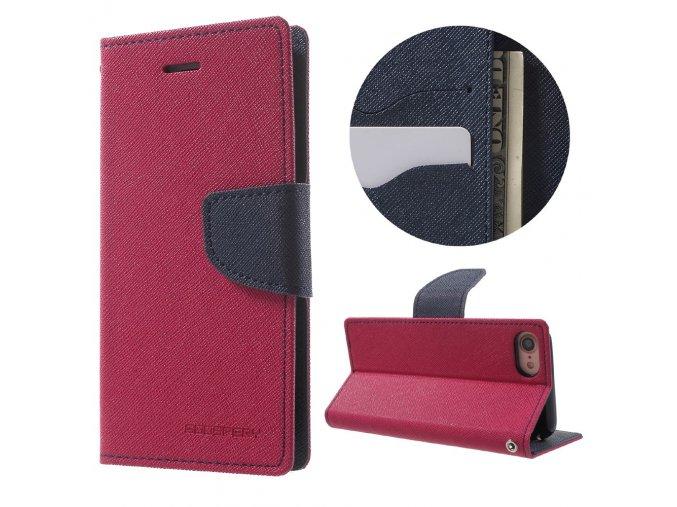 Pouzdro / kryt pro iPhone 7 / 8 - Mercury, Fancy Diary HOTPINK/NAVY