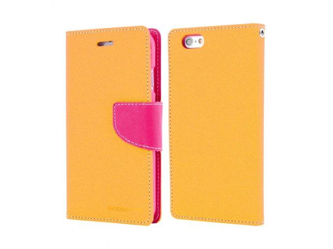 Pouzdro / kryt pro iPhone 7 Plus / 8 Plus - Mercury, Fancy Diary YELLOW/HOTPINK