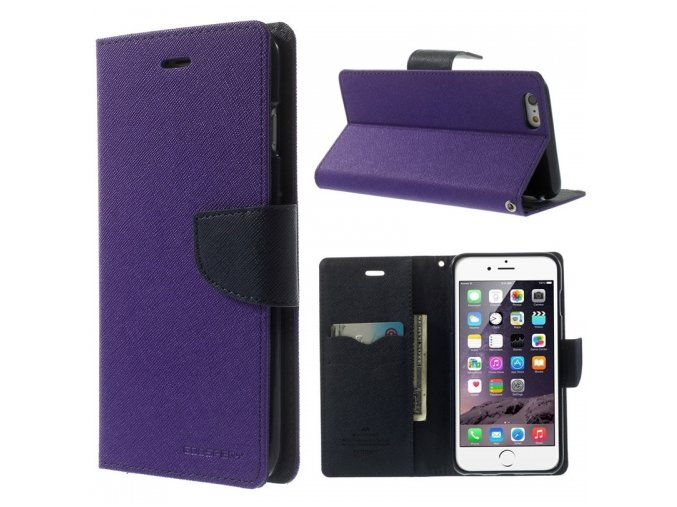 Pouzdro / kryt pro Apple iPhone 6 / 6S - Mercury, Fancy Diary Purple/Navy