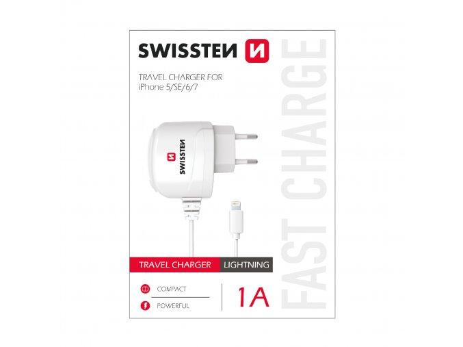Nabíječka do sítě s kabelem Lightning pro iPhone - SWISSTEN, 1A