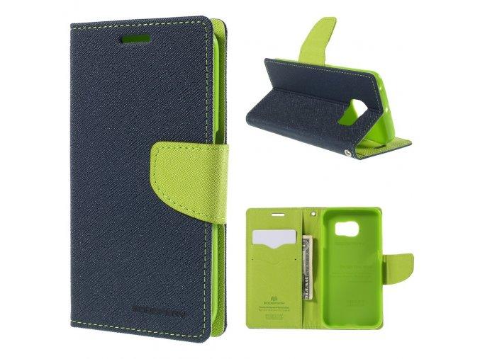 Pouzdro / kryt pro Samsung Galaxy S6 EDGE - Mercury, Fancy Diary Navy/Lime