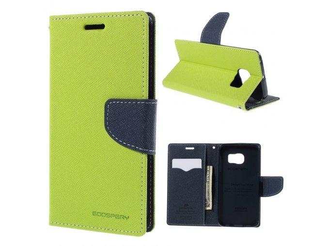 Pouzdro / kryt pro Samsung Galaxy S6 EDGE - Mercury, Fancy Diary Lime/Navy