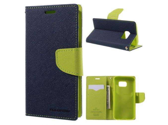 Pouzdro / kryt pro Samsung Galaxy S7 - Mercury, Fancy Diary Navy/Lime