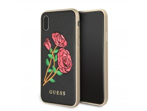 Ochranný kryt pro iPhone X - Guess, Flower Desire Black Back