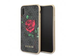 Ochranný kryt pro iPhone X - Guess, 4G Flower Desire Grey Back