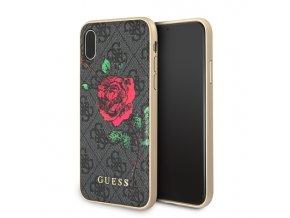 Ochranný kryt pro iPhone XS / X - Guess, 4G Flower Desire Grey Back