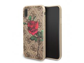 Ochranný kryt pro iPhone X - Guess, 4G Flower Desire Brown Back