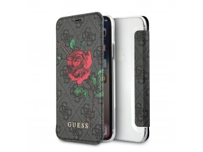 Pouzdro / kryt pro iPhone X - Guess, 4G Flower Desire Grey Book