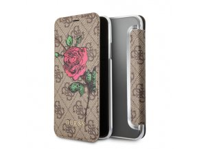 Pouzdro / kryt pro iPhone XS / X - Guess, 4G Flower Desire Brown Book