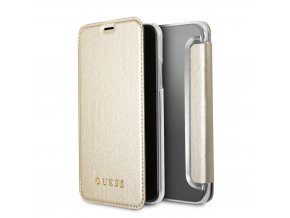 Pouzdro / kryt pro iPhone XS / X - Guess, Iridescent Gold Book