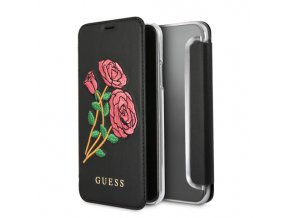 Pouzdro / kryt pro iPhone XS / X - Guess, Flower Desire Black Book