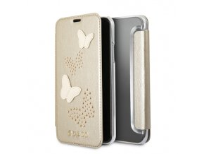 Pouzdro / kryt pro iPhone X - Guess, Studs and Sparkle Beige Book