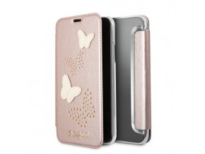 Pouzdro / kryt pro iPhone XS / X - Guess, Studs and Sparkle RoseGold Book