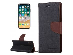 Pouzdro / kryt pro iPhone XS / X - Mercury, Fancy Diary BLACK/BROWN