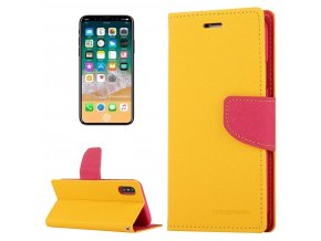 Pouzdro / kryt pro iPhone XS / X - Mercury, Fancy Diary YELLOW/HOTPINK