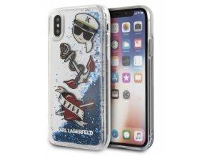 Ochranný kryt pro iPhone X - Karl Lagerfeld, Captain Karl Liquid Glitter