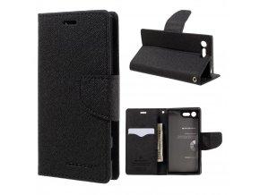 Pouzdro / kryt pro SONY XPERIA X COMPACT F5321 - Mercury, Fancy Diary Black/Black