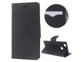 Pouzdro / kryt pro Huawei P9 LITE (2016) - Mercury, Fancy Diary Black/Black