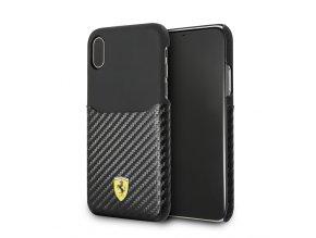 Ochranný kryt pro iPhone X - Ferrari, Carbon Back Black