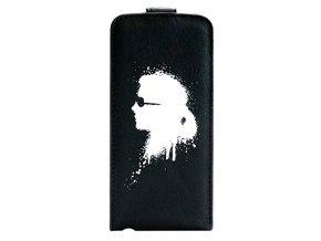 Pouzdro pro iPhone 5 / 5S / SE - Karl Lagerfeld, Graffiti Flip Black