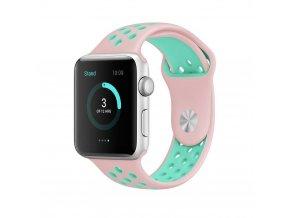Gumový pásek / řemínek pro Apple Watch 42mm / 44mm - TECH-PROTECT, SOFTBAND PINK/MINT