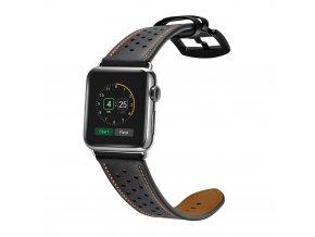Kožený pásek / řemínek pro Apple Watch 42mm - TECH-PROTECT, LEATHER BLACK