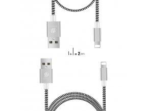 Kabel Lightning pro iPhone a iPad - DuxDucis, 2-PACK SET (100cm+20cm) Silver