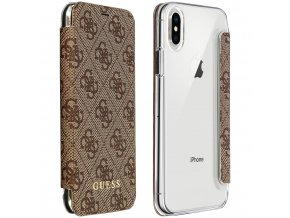 Pouzdro / kryt pro iPhone XS / X - Guess, Charms 4G Brown Book