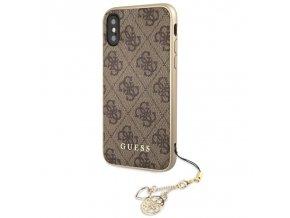 Ochranný kryt pro iPhone X - Guess, Charms 4G Back Brown